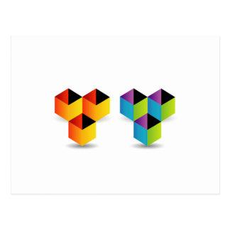 cubos coloridos tarjeta postal