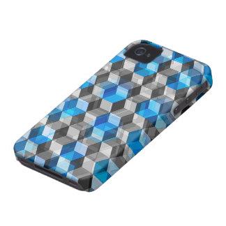 Cubos de gris y de azul Case-Mate iPhone 4 funda