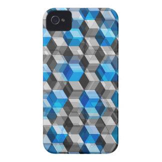Cubos de gris y de azul iPhone 4 Case-Mate protector