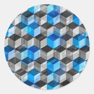 Cubos de gris y de azul pegatina redonda