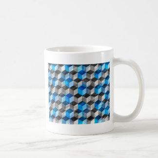 Cubos de gris y de azul taza básica blanca