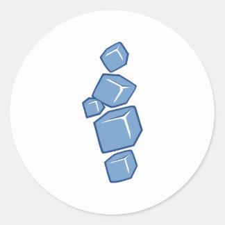 Cubos de hielo pegatina redonda