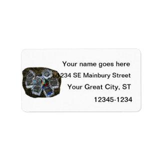 Cubos de hielo y bombillas en la fotografía de la  etiquetas de dirección