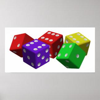 cubos de juego vio rojo de la suerte del juego de posters