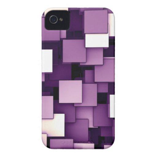 Cubos futuristas abstractos púrpuras iPhone 4 Case-Mate protector