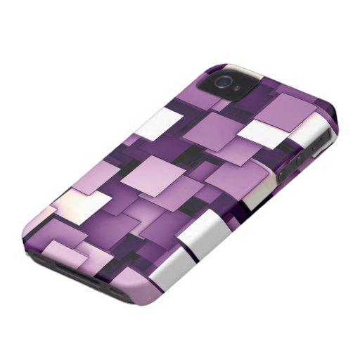 Cubos futuristas abstractos púrpuras Case-Mate iPhone 4 carcasas