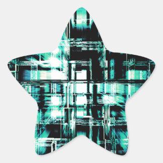 Cubos geométricos verdes en el movimiento pegatina en forma de estrella