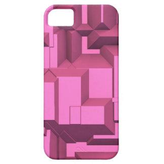 Cubos macizos rosados de Techno iPhone 5 Carcasas