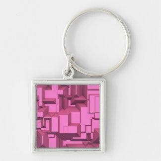 Cubos macizos rosados de Techno Llavero