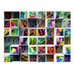 cubos medios coloridos 3D. Colores multi abstracto Tarjetas Postales