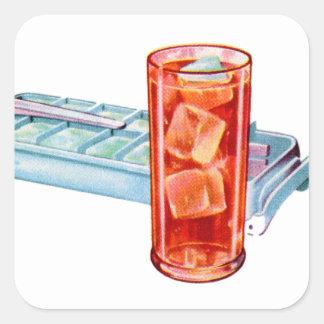 Cubos retros de la bandeja del cubo de hielo de pegatina cuadrada