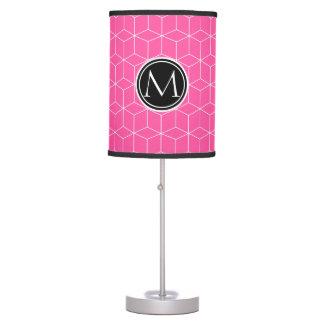 Cubos y color de rosa brillante del monograma lámpara de mesilla de noche