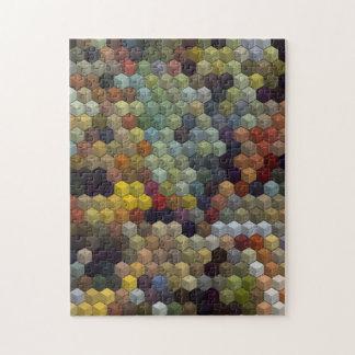 Cubos y cuadrado multicolores geométricos de los puzzle con fotos