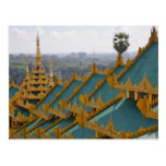 Cubra los tops de la pagoda de Shwedagon, Rangún, Postales