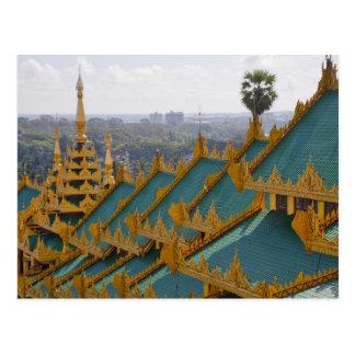 Cubra los tops de la pagoda de Shwedagon Rangún Tarjetas Postales