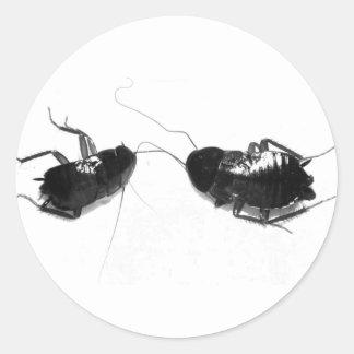 Cucaracha muerta etiqueta redonda