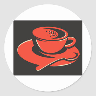cuchara de las burbujas de la taza de café retra pegatina redonda