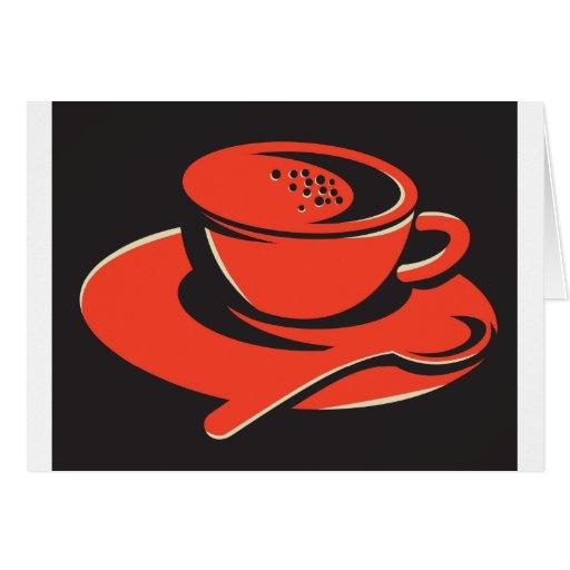 cuchara de las burbujas de la taza de café retra felicitacion