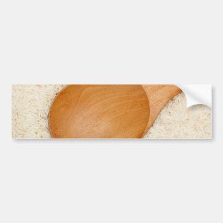 Cuchara de madera en el arroz fragante tailandés pegatina para auto