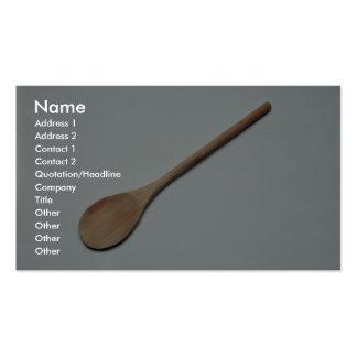 Cuchara de madera para el trabajo de la cocina tarjetas de visita