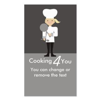 cuchara linda del sartén del cocinero del chica tarjetas de visita