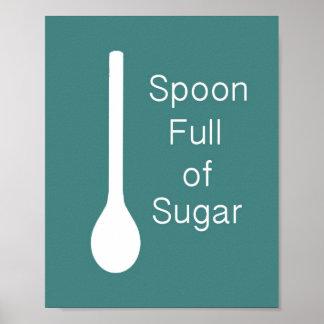 Cuchara por completo del poster del azúcar