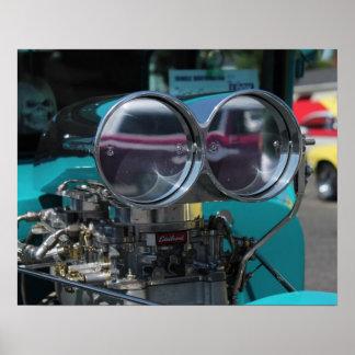 Cucharada de aire del coche de carreras del cromo póster