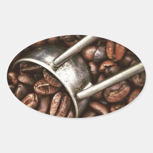 Cucharada de los granos de café pegatina ovaladas personalizadas