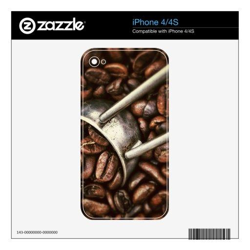 Cucharada de los granos de café iPhone 4S calcomanía