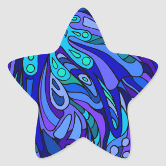 Cucharada del azul del zen calcomania forma de estrella