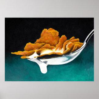 Cucharada del poster de la pintura del cereal y de