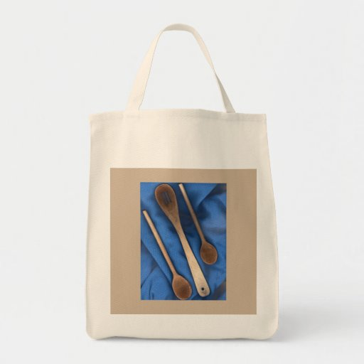 Cucharas de madera del tote del ultramarinos bolsa lienzo