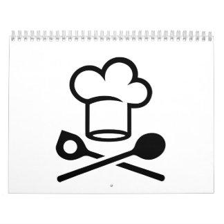 Cucharas del gorra del cocinero calendarios