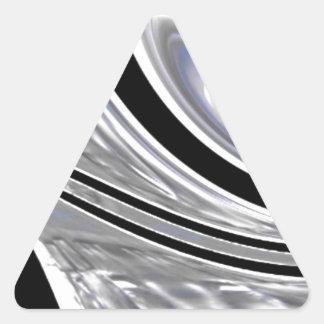 Cuchillas de plata del acero contra negro pegatina triangular