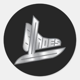 Cuchillas del hockey de la plata esterlina pegatina redonda