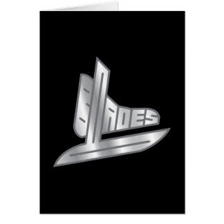 Cuchillas del hockey de la plata esterlina tarjeta de felicitación
