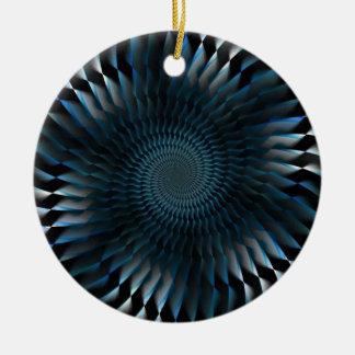 Cuchillas espirales azules adorno navideño redondo de cerámica