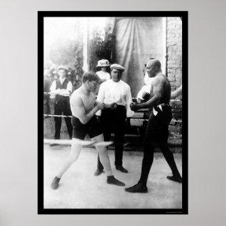 Cuchillero contra el combate de boxeo de Johnson 1 Posters