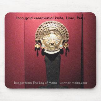 Cuchillo ceremonial del oro del inca (Tumi), Lima, Alfombrilla De Ratones