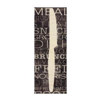 Cuchillo de cocina con palabras impresión en lona