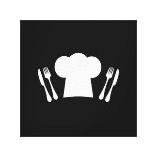 Cuchillo del gorra del cocinero y cocina o impresiones en lona