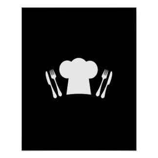 Cuchillo del gorra del cocinero y cocina o poster
