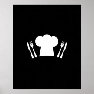 Cuchillo del gorra del cocinero y cocina o póster