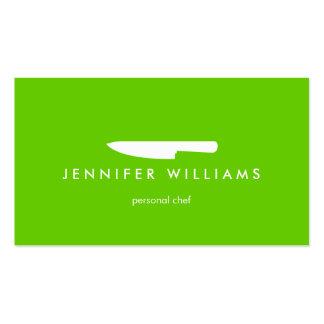 Cuchillo en el verde para abastecer, restaurante d plantilla de tarjeta de visita