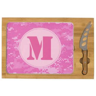 Cuchillo rosado de la tabla de cortar del queso