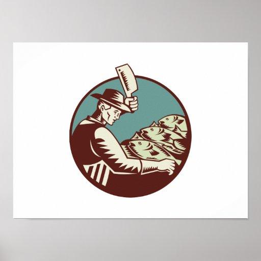 Cuchillo y pescados de carnicero del pescadero póster