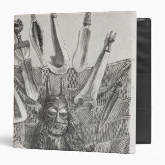 """Cuchillos, máscara y estera de Congo superior Carpeta 1 1/2"""""""