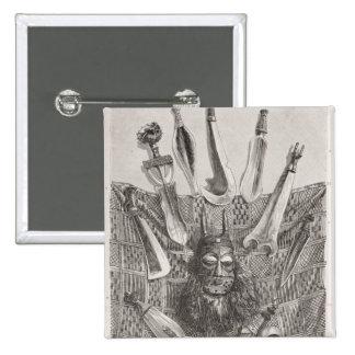 Cuchillos, máscara y estera de Congo superior Pin Cuadrada 5 Cm