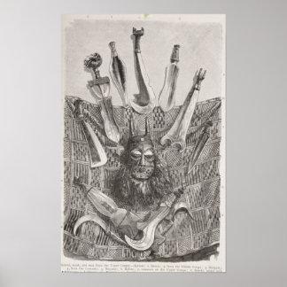 Cuchillos, máscara y estera de Congo superior Póster