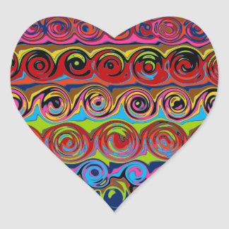 Cuckoo Abstract Swirl Heart Sticker